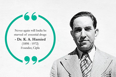 Dr. Hamied's image with quote or Gandhi's